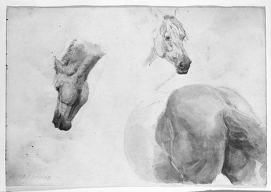 John Frederick Herring (British, 1795-1865). <em>Study of Horses</em>, 19th century. Pencil drawing with watercolor wash on wove paper, Sheet: 6 15/16 x 10 1/16 in. (17.6 x 25.6 cm). Brooklyn Museum, Gift of Hope Hollins, 39.566 (Photo: Brooklyn Museum, 39.566_bw.jpg)