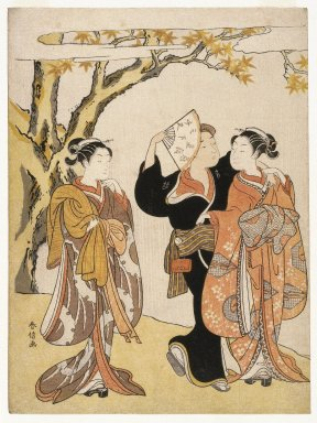 Suzuki Harunobu (Japanese, 1724-1770). <em>Maple Leaf Viewing</em>, ca. 1769. Color woodblock print on paper., 11 x 8 3/16 in. (28 x 20.8 cm). Brooklyn Museum, Gift of Louis V. Ledoux, 39.568 (Photo: Brooklyn Museum, 39.568_IMLS_SL2.jpg)
