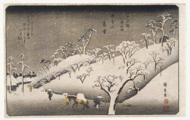 Utagawa Hiroshige (Ando) (Japanese, 1797-1858). <em>Evening Snow on the Asuka Mountain (Asukayama no Bosetsu)</em>, ca. 1838. Color woodblock print on paper, Sheet: 9 3/16 x 14 1/2 in. (23.4 x 36.8 cm). Brooklyn Museum, Frank L. Babbott Fund, 39.577 (Photo: Brooklyn Museum, 39.577_IMLS_SL2.jpg)