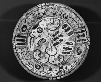 Maya. <em>Tripod Plate</em>, ca. 593-731. Ceramic, pigment, 4 9/16 x 17 11/16 x 17 11/16 in. (11.6 x 44.9 x 44.9 cm). Brooklyn Museum, Dick S. Ramsay Fund, 39.57. Creative Commons-BY (Photo: Brooklyn Museum, 39.57_acetate_bw.jpg)