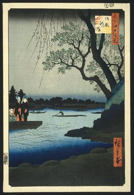 Utagawa Hiroshige (Ando) (Japanese, 1797-1858). <em>Oumayagashi, No. 105 from One Hundred Famous Views of Edo</em>, 12th month of 1857. Woodblock print, 14 1/16 x 9 1/2in. (35.7 x 24.1cm). Brooklyn Museum, Frank L. Babbott Fund, 39.581 (Photo: Brooklyn Museum, 39.581_SL1.jpg)