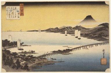 Utagawa Hiroshige (Ando) (Japanese, 1797-1858). <em>Evening Glow at Sea (Seta no Sekisho), from Eight Views of the Province Omi (Omi Hakkei)</em>, ca. 1834. Color woodblock print on paper, Sheet: 9 1/8 x 14 1/16 in. (23.1 x 35.6 cm). Brooklyn Museum, Frank L. Babbott Fund, 39.585 (Photo: Brooklyn Museum, 39.585_SL1.jpg)