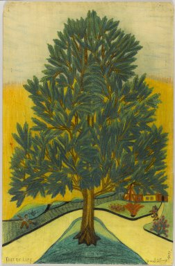 Israel Litwak (American, 1867-1960). <em>Tree of Life</em>, 1938. Crayon and graphite on paper coated with shellac, Sheet: 34 1/4 x 22 1/4 in. (87 x 56.5 cm). Brooklyn Museum, Gift of the artist, 39.593. © artist or artist's estate (Photo: Brooklyn Museum, 39.593_PS1.jpg)