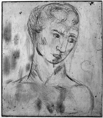 Wilhelm Lehmbruck (German, 1881-1919). <em>Head, Large (Kopf, gross)</em>, 1912. Etching and drypoint on heavy laid paper, Image (Plate): 11 1/2 x 10 1/8 in. (29.2 x 25.7 cm). Brooklyn Museum, Charles Stewart Smith Memorial Fund, 39.598 (Photo: Brooklyn Museum, 39.598_bw_IMLS.jpg)