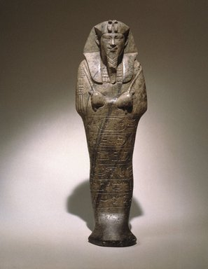 Nubian. <em>Shabti of Senkamanisken</em>, 643-623 B.C.E. Steatite, 8 9/16 x 2 11/16 x depth at base 1 15/16 in. (21.7 x 6.9 x 5 cm). Brooklyn Museum, By exchange, 39.5. Creative Commons-BY (Photo: Brooklyn Museum, 39.5_SL1.jpg)