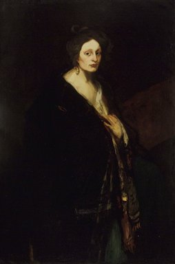 Robert Henri (American, 1865-1929). <em>Woman in Manteau</em>, 1898. Oil on canvas, 58 1/16 x 38 11/16 in. (147.5 x 98.3 cm). Brooklyn Museum, Gift of the National Academy of Design, 39.600 (Photo: Brooklyn Museum, 39.600.jpg)