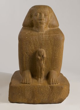 <em>Block Statue of Senwosret-senebefny</em>, ca. 1836-1759 B.C.E. Quartzite, 26 7/8 x 16 5/16 x 18 1/8 in., 359 lb. (68.3 x 41.5 x 46 cm, 162.84kg). Brooklyn Museum, Charles Edwin Wilbour Fund, 39.602. Creative Commons-BY (Photo: Brooklyn Museum, 39.602_front_PS9.jpg)