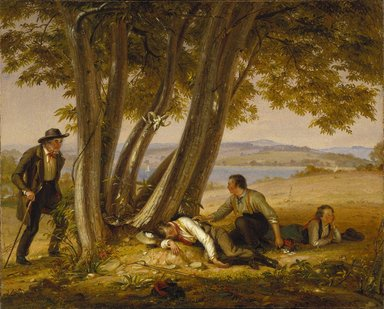 William Sidney Mount (American, 1807-1868). <em>Caught Napping (Boys Caught Napping in a Field)</em>, 1848. Oil on canvas, 29 1/16 x 36 1/8 in. (73.8 x 91.7 cm). Brooklyn Museum, Dick S. Ramsay Fund, 39.608 (Photo: Brooklyn Museum, 39.608_SL1.jpg)