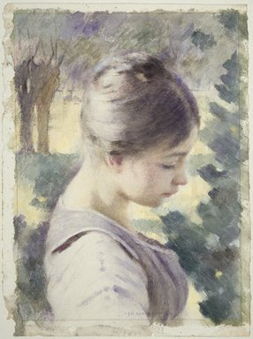 Theodore Robinson (American, 1852-1896). <em>Decorative Head</em>, 19th century. Watercolor with touches of opaque watercolor and traces of black chalk, squared in black chalk, on medium weight, rough-textured wove paper, Image: 13 3/4 x 9 13/16 in. (35 x 25 cm). Brooklyn Museum, Dick S. Ramsay Fund, 39.60 (Photo: Brooklyn Museum, 39.60_SL3.jpg)