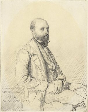 Théodore Chassériau (French, 1819-1856). <em>Portrait of Jules Monnerot</em>, 1852. Graphite on wove paper, 9 1/2 × 7 7/16 in. (24.1 × 18.9 cm). Brooklyn Museum, Frank L. Babbott Fund, 39.622 (Photo: Brooklyn Museum, 39.622_SL1.jpg)