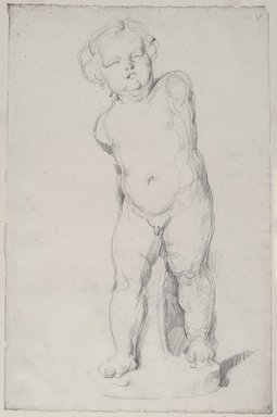 Paul Cézanne (French, 1839-1906). <em>Study from a Statuette of a Cupid (Étude de l'Amour plâtre); Verso: Drapery Study</em>, ca. 1890. Graphite on laid paper, 19 1/4 x 12 3/4 in. (48.9 x 32.4 cm). Brooklyn Museum, Frank L. Babbott Fund, 39.623a-b (Photo: Brooklyn Museum, 39.623a-b_PS1.jpg)