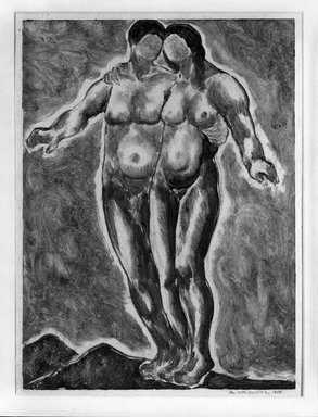 Abraham Walkowitz (American, born Russia, 1878-1965). <em>Two Nude Figures</em>, 1908. Monotype Brooklyn Museum, Gift of the artist, 39.628 (Photo: Brooklyn Museum, 39.628_bw.jpg)