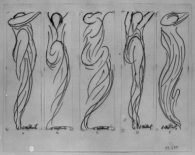 Abraham Walkowitz (American, born Russia, 1878-1965). <em>Dancer -- Five Line Drawings</em>, n.d. Pen and ink on paper, Sheet (a): 6 3/4 x 2 1/16 in. (17.1 x 5.2 cm). Brooklyn Museum, Gift of the artist, 39.644a-e (Photo: Brooklyn Museum, 39.644a-e_acetate_bw.jpg)