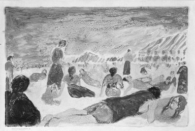 Abraham Walkowitz (American, born Russia, 1878-1965). <em>Bathers Reclining on a Beach</em>. Monotype Brooklyn Museum, Gift of the artist, 39.648 (Photo: Brooklyn Museum, 39.648_bw.jpg)