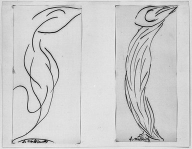Abraham Walkowitz (American, born Russia, 1878-1965). <em>Dancer - Two Studies in Lines</em>, n.d. Ink on paper mounted to paper, Sheet (mount): 8 1/2 x 10 15/16 in. (21.6 x 27.8 cm). Brooklyn Museum, Gift of the artist, 39.651a-b (Photo: Brooklyn Museum, 39.651a-b_acetate_bw.jpg)