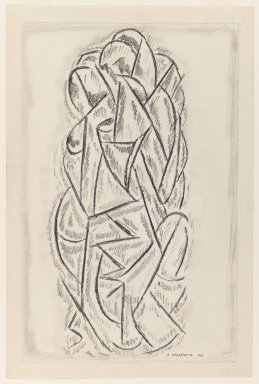 Abraham Walkowitz (American, born Russia, 1878-1965). <em>Abstraction</em>, 1912. Graphite on medium, cream, moderately textured, laid paper, Sheet: 19 x 12 5/8 in. (48.3 x 32.1 cm). Brooklyn Museum, Gift of the artist, 39.655 (Photo: Brooklyn Museum, 39.655_IMLS_PS3.jpg)