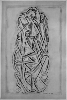 Abraham Walkowitz (American, born Russia, 1878-1965). <em>Abstraction</em>, 1912. Graphite on medium, cream, moderately textured, laid paper, Sheet: 19 x 12 5/8 in. (48.3 x 32.1 cm). Brooklyn Museum, Gift of the artist, 39.655 (Photo: Brooklyn Museum, 39.655_acetate_bw.jpg)