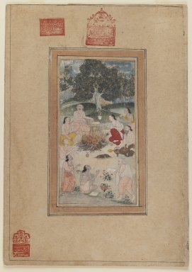 Indian. <em>Sadhus Gathered Around a Fire</em>, ca. 1600. Opaque watercolor on paper, sheet: 15 15/16 x 11 3/16 in.  (40.5 x 28.4 cm). Brooklyn Museum, By exchange, 39.85 (Photo: Brooklyn Museum, 39.85_recto_IMLS_PS3.jpg)