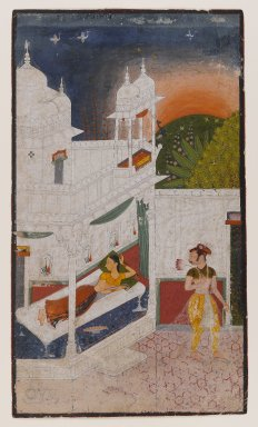 Indian. <em>Lalita Ragini, Page from a dispersed Ragamala Series</em>, ca. 1640. Opaque watercolor on paper, sheet: 11 15/16 x 6 5/16 in.  (30.3 x 16.0 cm). Brooklyn Museum, Brooklyn Museum Collection, 39.86 (Photo: Brooklyn Museum, 39.86_IMLS_PS4.jpg)