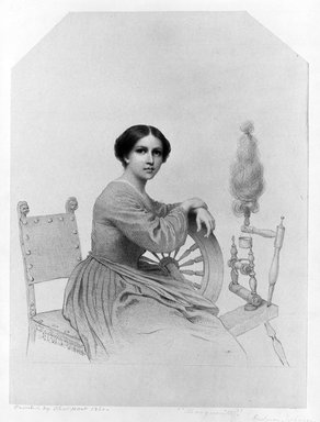 Eastman Johnson (American, 1824-1906). <em>Marguerite</em>, 1860. Lithograph on paper with top corners cut, mounted on paper, Sheet: 16 3/4 x 13 13/16 in. (42.5 x 35.1 cm). Brooklyn Museum, Gift of Mrs. William P. Hamilton and Grace Parsons Hart, 40.11 (Photo: Brooklyn Museum, 40.11_bw.jpg)
