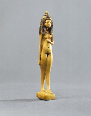 <em>Statuette of a Girl</em>, ca. 1390-1353 B.C.E. Ivory, pigment, 3 1/4 x 5/8 in. (8.3 x 1.6 cm). Brooklyn Museum, Charles Edwin Wilbour Fund, 40.126.2. Creative Commons-BY (Photo: Brooklyn Museum, 40.126.2_SL1.jpg)