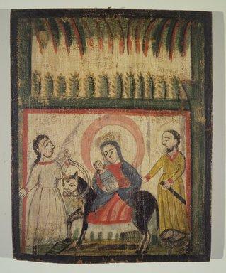 José Rafael Aragón (ca. 1795-1862). <em>The Flight into Egypt</em>, 19th century. Pine, gesso, water-based paints, 15 x 12in. (38.1 x 30.5cm). Brooklyn Museum, Ella C. Woodward Memorial Fund, 40.128 (Photo: Brooklyn Museum, 40.128.jpg)