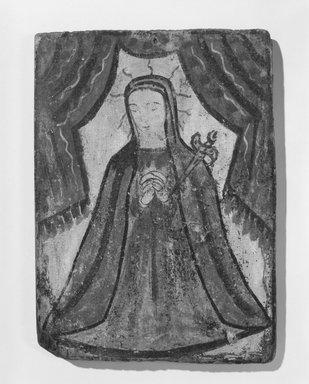 School of José Rafael Aragón (ca. 1795-1862). <em>Our Lady of Sorrows (Nuestra Señora de los Dolores)</em>, ca. 1821-1835. Pine, gesso, water-based paints, 9 1/2 x 6 7/8 in. (24.1 x 17.5 cm). Brooklyn Museum, Ella C. Woodward Memorial Fund, 40.129 (Photo: Brooklyn Museum, 40.129_bw.jpg)