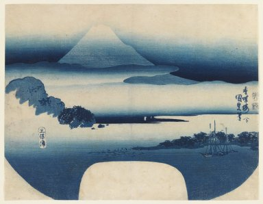 Utagawa Kunisada (Toyokuni III) (Japanese, 1786-1865). <em>View of Fuji from Miho Bay</em>, May 1830. Color woodblock print on paper, Sheet: 8 13/16 x 11 7/16 in. (22.4 x 29.1 cm). Brooklyn Museum, Gift of Louis V. Ledoux, 40.137 (Photo: Brooklyn Museum, 40.137_IMLS_PS3.jpg)