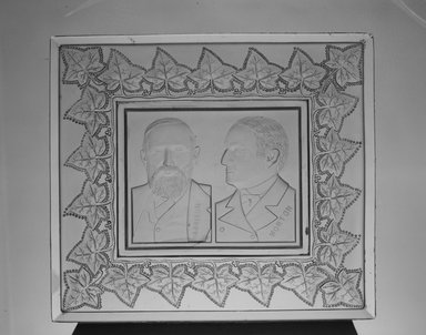 American. <em>Tray or Plaque (Benjamin Harrison & Levi Morton)</em>, ca. 1889. Glass, 1 3/8 x 9 5/8 x 8 1/2 in. (3.5 x 24.4 x 21.6 cm). Brooklyn Museum, Gift of Mrs. William Greig Walker by subscription, 40.155. Creative Commons-BY (Photo: Brooklyn Museum, 40.155_acetate_bw.jpg)