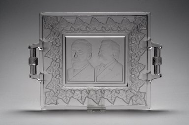<em>Tray (James Blaine & John Logan)</em>, ca. 1884. Glass, 1 3/8 x 11 5/8 x 8 1/2 in. (3.5 x 29.5 x 21.6 cm). Brooklyn Museum, Gift of Mrs. William Greig Walker by subscription, 40.156. Creative Commons-BY (Photo: Brooklyn Museum, 40.156.jpg)