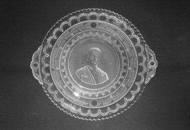 <em>Plate (Nathaniel P. Banks)</em>, ca. 1898. Glass, 1 1/8 x 8 3/4 x 7 3/4 in. (2.9 x 22.2 x 19.7 cm). Brooklyn Museum, Gift of Mrs. William Greig Walker by subscription, 40.178. Creative Commons-BY (Photo: Brooklyn Museum, 40.178_bw.jpg)
