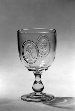 <em>Goblet (Ulysses S. Grant & Henry Wilson)</em>, ca. 1877. Glass, 6 1/4 x 3 1/2 x 3 1/2 in. (15.9 x 8.9 x 8.9 cm). Brooklyn Museum, Gift of Mrs. William Greig Walker by subscription, 40.184. Creative Commons-BY (Photo: Brooklyn Museum, 40.184_bw.jpg)