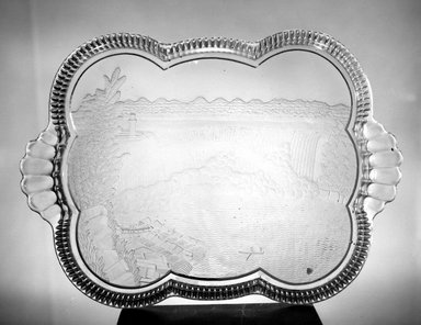 American. <em>Platter (Niagara Falls)</em>, ca. 1898. Glass, 1 1/4 x 16 x 11 1/2 in. (3.2 x 40.6 x 29.2 cm). Brooklyn Museum, Gift of Mrs. William Greig Walker by subscription, 40.207. Creative Commons-BY (Photo: Brooklyn Museum, 40.207_acetate_bw.jpg)