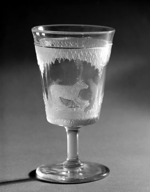 Crystal Glass Company (Bridgeport, Ohio). <em>Goblet (Alaskan scene)</em>, 1867. Glass, 6 x 3 3/8 x 3 3/8 in. (15.2 x 8.6 x 8.6 cm). Brooklyn Museum, Gift of Mrs. William Greig Walker by subscription, 40.209b. Creative Commons-BY (Photo: Brooklyn Museum, 40.209b_bw.jpg)
