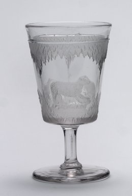 Crystal Glass Company (Bridgeport, Ohio). <em>Goblet (Alaskan scene)</em>, 1867. Glass, 6 x 3 3/8 x 3 3/8 in. (15.2 x 8.6 x 8.6 cm). Brooklyn Museum, Gift of Mrs. William Greig Walker by subscription, 40.209c. Creative Commons-BY (Photo: , 40.209b_or_c.jpg)