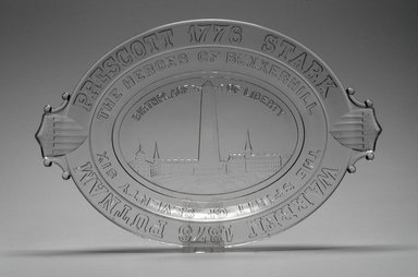 American. <em>Platter (Bunker Hill Monument)</em>, 1876. Glass, 1 5/8 x 13 1/2 x 9 in. (4.1 x 34.3 x 22.9 cm). Brooklyn Museum, Gift of Mrs. William Greig Walker by subscription, 40.211. Creative Commons-BY (Photo: Brooklyn Museum, 40.211.jpg)