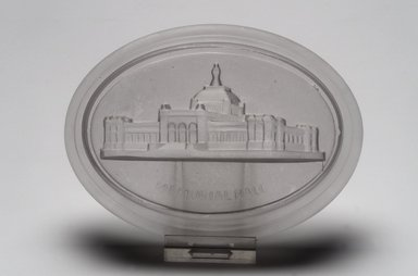American. <em>Paperweight (Memorial Hall from Centennial Exhibition)</em>, 1876. Glass, 1 x 5 3/8 x 4 in. (2.5 x 13.7 x 10.2 cm). Brooklyn Museum, Gift of Mrs. William Greig Walker by subscription, 40.218. Creative Commons-BY (Photo: Brooklyn Museum, 40.218.jpg)