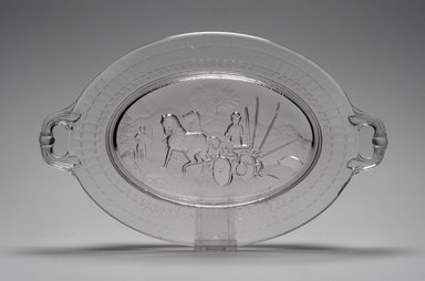 American. <em>Platter (McCormack Reaper)</em>, 1831. Glass, 1 5/8 x 13 1/8 x 8 1/8 in. (4.1 x 33.3 x 20.6 cm). Brooklyn Museum, Gift of Mrs. William Greig Walker by subscription, 40.238. Creative Commons-BY (Photo: Brooklyn Museum, 40.238.jpg)
