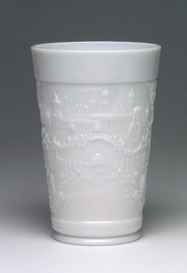 American. <em>Tumbler or Glass (St. Louis World's Fair)</em>, 1904. Glass, 5 x 3 3/8 x 3 3/8 in. (12.7 x 8.6 x 8.6 cm). Brooklyn Museum, Gift of Mrs. William Greig Walker by subscription, 40.243. Creative Commons-BY (Photo: Brooklyn Museum, 40.243.jpg)