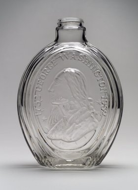 American. <em>Vinegar Flask (George Washington)</em>, 1932. Glass, 7 3/4 x 5 3/4 x 3 3/8 in. (19.7 x 14.6 x 8.6 cm). Brooklyn Museum, Gift of Mrs. William Greig Walker by subscription, 40.247. Creative Commons-BY (Photo: Brooklyn Museum, 40.247.jpg)