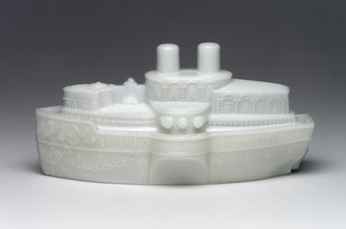 <em>Covered Dish, U.S. Battleship Maine</em>, ca. 1898. Glass, 3 3/4 x 7 3/4 x 4 1/8 in. (9.5 x 19.7 x 10.5 cm). Brooklyn Museum, Gift of Mrs. William Greig Walker by subscription, 40.265a-b. Creative Commons-BY (Photo: Brooklyn Museum, 40.265a-b.jpg)