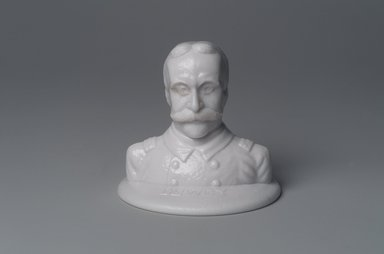 American. <em>Bust of Admiral George Dewey</em>, 1899. Glass, 3 1/2 x 3 7/8 x 3 7/8 in. (8.9 x 9.8 x 9.8 cm). Brooklyn Museum, Gift of Mrs. William Greig Walker by subscription, 40.266. Creative Commons-BY (Photo: Brooklyn Museum, 40.266.jpg)