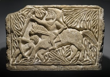 Coptic. <em>St. Sissinios</em>, 6th century C.E.; modern reworking. Limestone, 15 3/16 x 23 1/4 x 5 7/8 in. (38.5 x 59 x 15 cm). Brooklyn Museum, Charles Edwin Wilbour Fund, 40.300. Creative Commons-BY (Photo: Brooklyn Museum, 40.300_PS2.jpg)