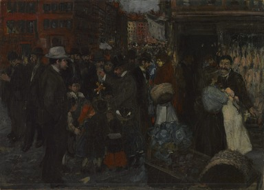 George Benjamin Luks (American, 1867-1933). <em>Street Scene (Hester Street)</em>, 1905. Oil on canvas, 25 13/16 x 35 7/8 in. (65.5 x 91.1 cm). Brooklyn Museum, Dick S. Ramsay Fund, 40.339 (Photo: , 40.339_edited_PS9.jpg)