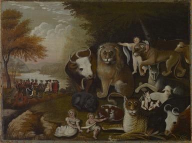 Edward Hicks (American, 1780-1849). <em>The Peaceable Kingdom</em>, ca. 1833-1834. Oil on canvas, 17 7/16 x 23 9/16 in. (44.3 x 59.8 cm). Brooklyn Museum, Dick S. Ramsay Fund, 40.340 (Photo: Brooklyn Museum, 40.340_PS9.jpg)