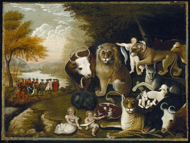 Edward Hicks (American, 1780-1849). <em>The Peaceable Kingdom</em>, ca. 1833-1834. Oil on canvas, 17 7/16 x 23 9/16 in. (44.3 x 59.8 cm). Brooklyn Museum, Dick S. Ramsay Fund, 40.340 (Photo: Brooklyn Museum, 40.340_SL1.jpg)