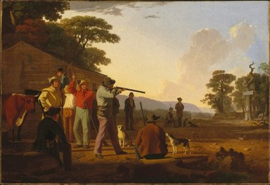 George Caleb Bingham (American, 1811-1879). <em>Shooting for the Beef</em>, 1850. Oil on canvas, 33 3/8 x 49 in. (84.8 x 124.5 cm). Brooklyn Museum, Dick S. Ramsay Fund, 40.342 (Photo: Brooklyn Museum, 40.342_SL1.jpg)