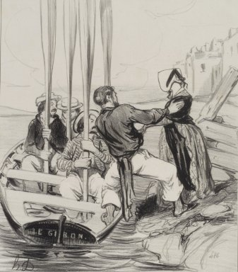 Honoré Daumier (French, 1808-1879). <em>Embarkation of a Lady (Embarquement d'une dame)</em>, June 26, 1843. Lithograph on wove paper, Image: 9 1/2 x 8 5/16 in. (24.1 x 21.1 cm). Brooklyn Museum, Charles Stewart Smith Memorial Fund, 40.346 (Photo: Brooklyn Museum, 40.346.jpg)