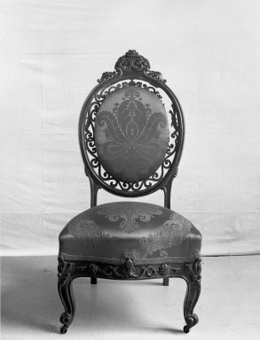 Attributed to Charles H. White. <em>Slipper Chair</em>, ca. 1855. Rosewood, original upholstery, 42 1/2 x 21 x 18 1/2 in. (108 x 53.3 x 47 cm). Brooklyn Museum, Gift of Louise G. Zabriskie, 40.351.7. Creative Commons-BY (Photo: Brooklyn Museum, 40.351.7_acetate_bw.jpg)