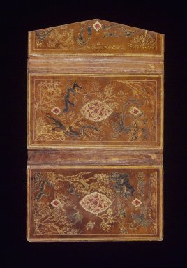 <em>Bookbinding with Earthly and Mythical Creatures</em>, 16th century. Paper, leather, opaque white watercolor, and gilding, 9 1/2 x 15 1/2 x 1/4 in. (24.1 x 39.4 x 0.6 cm). Brooklyn Museum, Gift of Mrs. George Dupont Pratt, 40.365. Creative Commons-BY (Photo: Brooklyn Museum, 40.365.jpg)